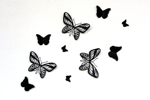 Black Butterflies Butterfly Wall Stickers Paper 3d 3D Decor Art
