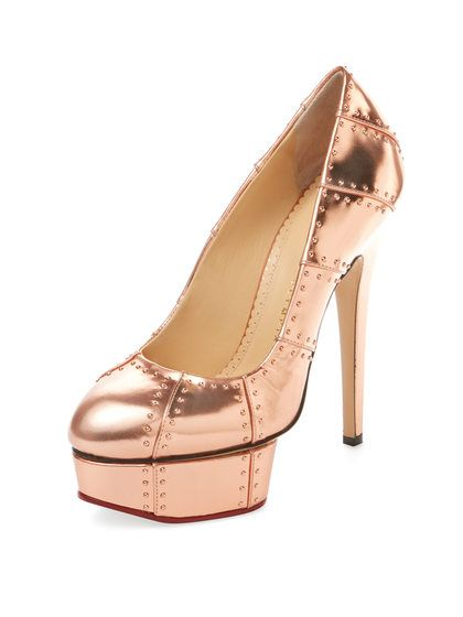 Industrial Priscilla Metallic Leather Pump by Charlotte Olympia at Gilt