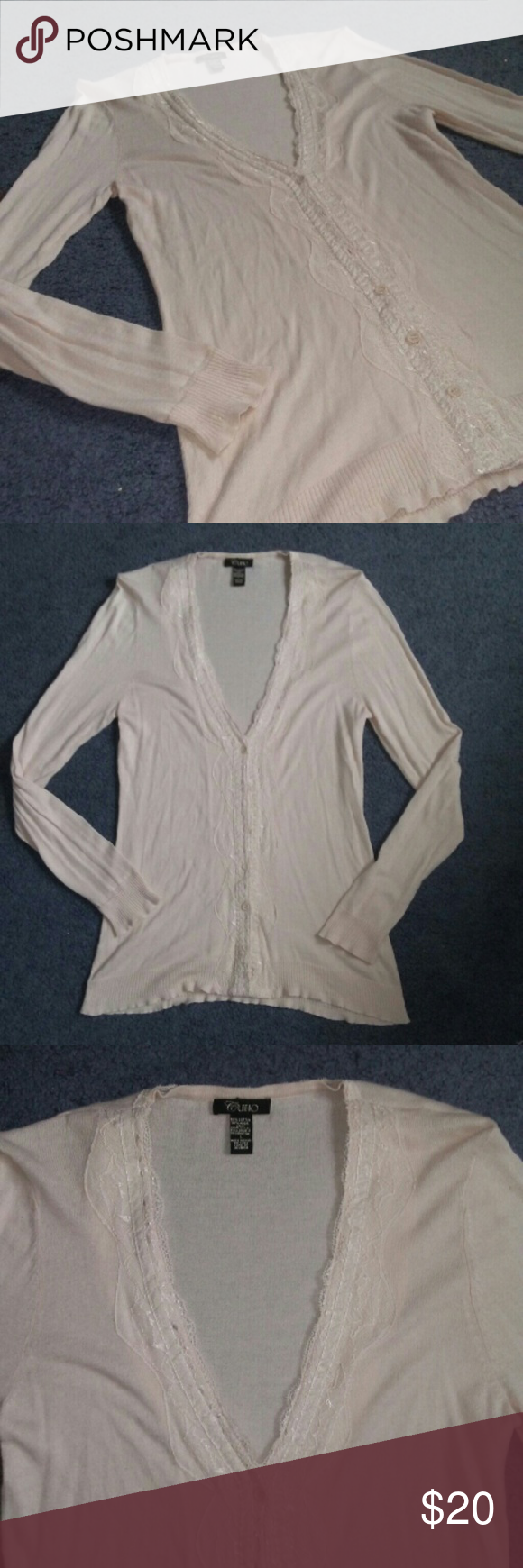 87ae066563d Cupio Lace Button Down V Neck Cardigan Worn 1x. Size Large. Great  condition. From Bonton. Cupio Sweaters Cardigans