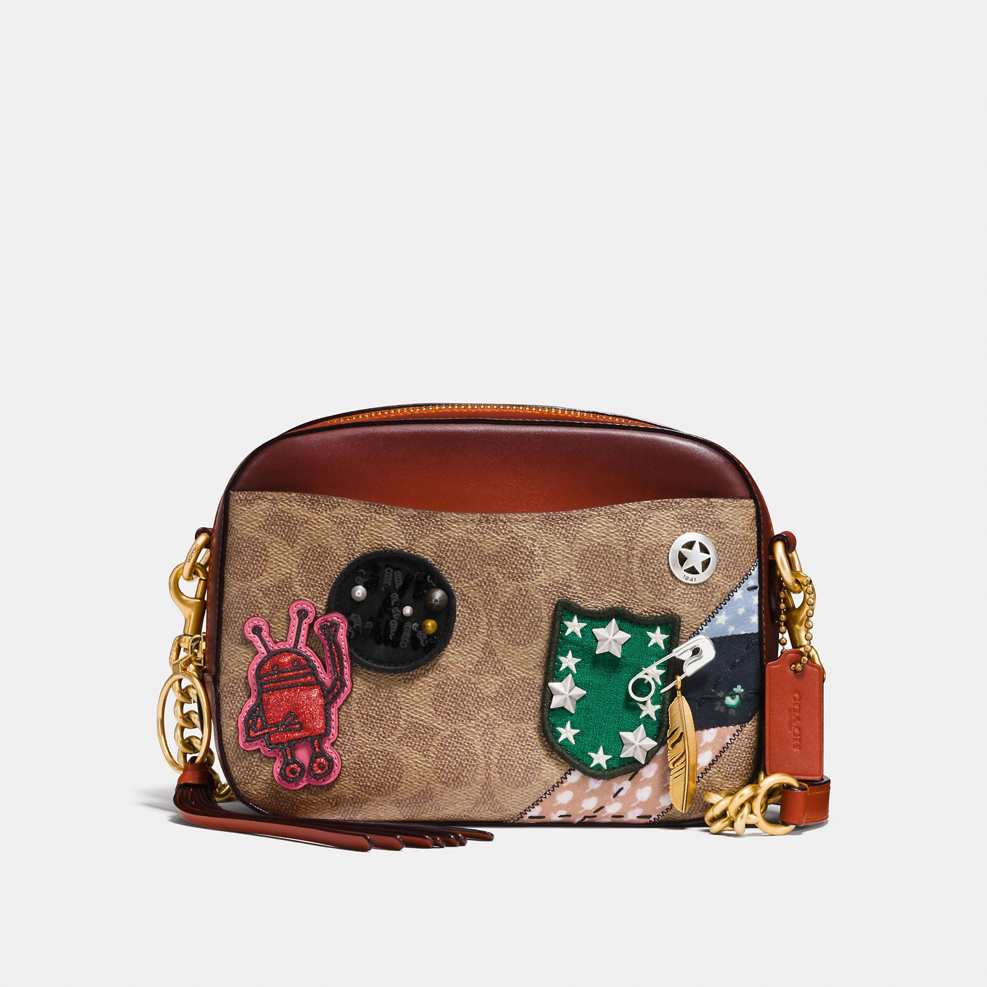 0288b79db3d7 COACH COACH X KEITH HARING CAMERA BAG IN SIGNATURE PATCHWORK - WOMEN S.   coach  bags  shoulder bags  leather  canvas  crossbody  lining