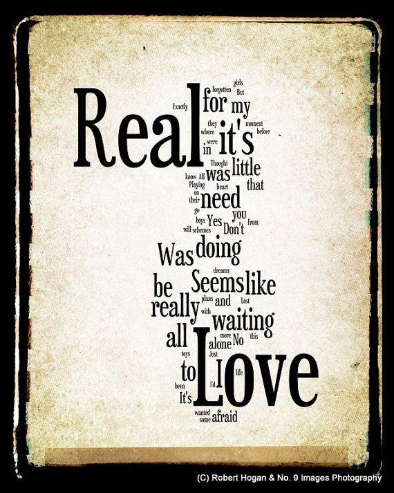 Real Love Lyrics The Beatles Word Art Our Wedding Song