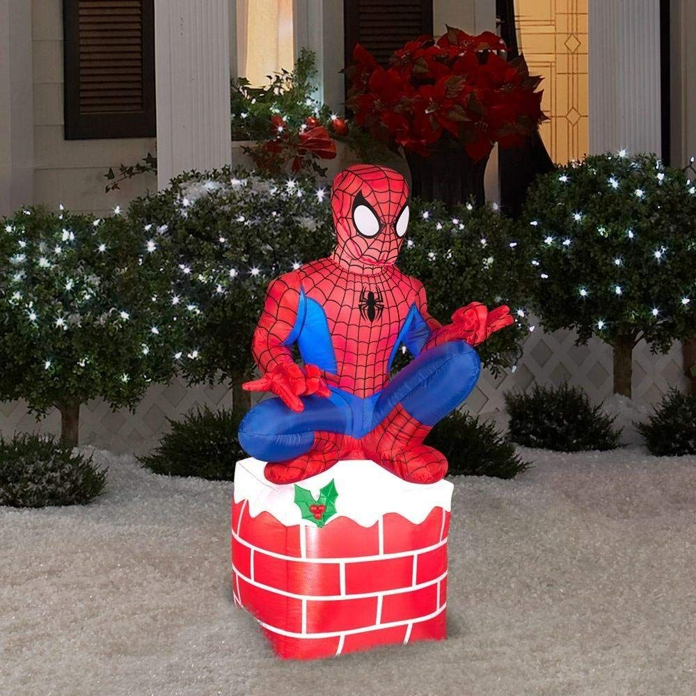 Amazon Com 3 5 Ft Tall Led Inflatable Christmas Outdoor Spider Man Sitting On Chimney Display W Spiderman Christmas Outdoor Christmas Inflatable Decorations