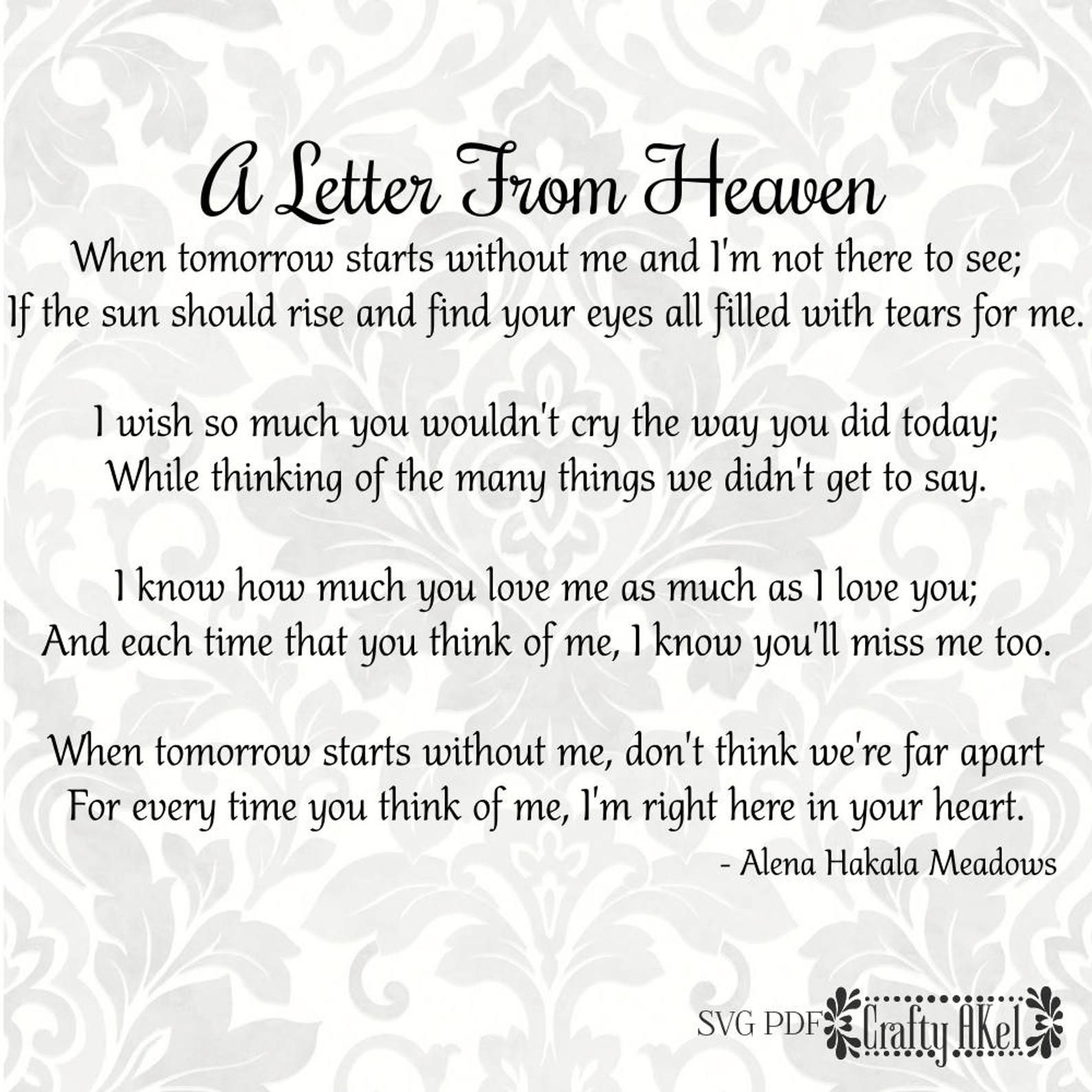 A Letter From Heaven Poem
