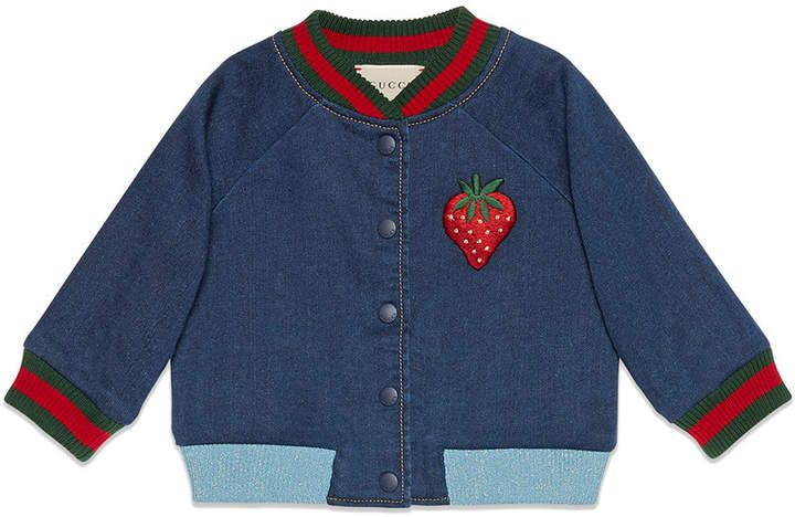 f8c617c2d8c04 Gucci Kids Baby jersey denim bomber jacket