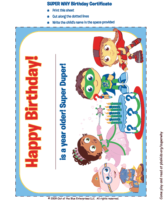 picture about Super Why Printable called Tremendous Why Printable Birthday Card . Little ones Birthday Get together