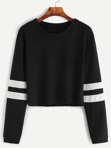 3556c359fc2128 Black Varsity Striped Sleeve Crop T-shirt Mobile Site | Tops | Crop ...