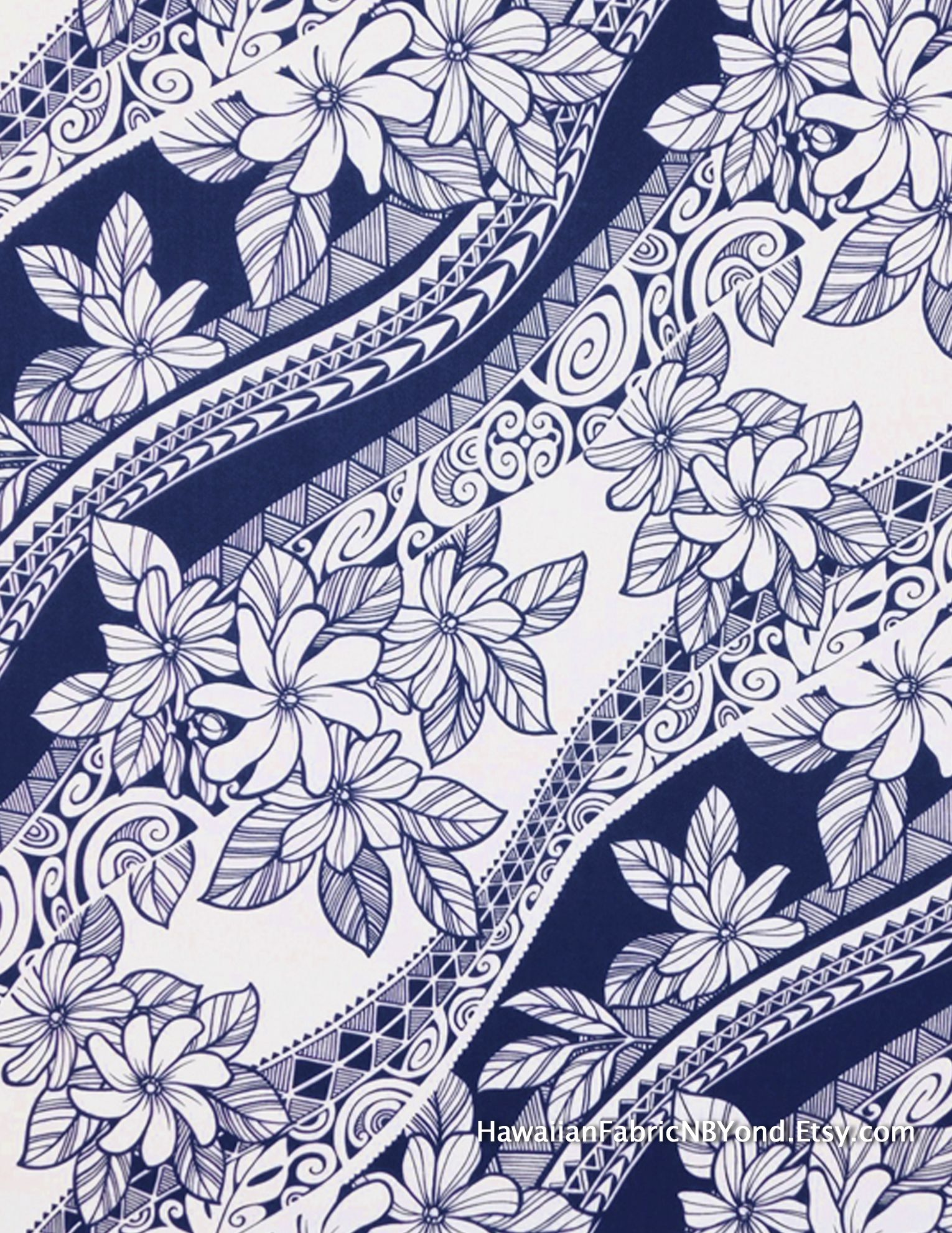 d49807372 Fabric: gorgeous Tiare flowers and Polynesian tapa patterns. By  HawaiianFabricNBYond on Etsy.com