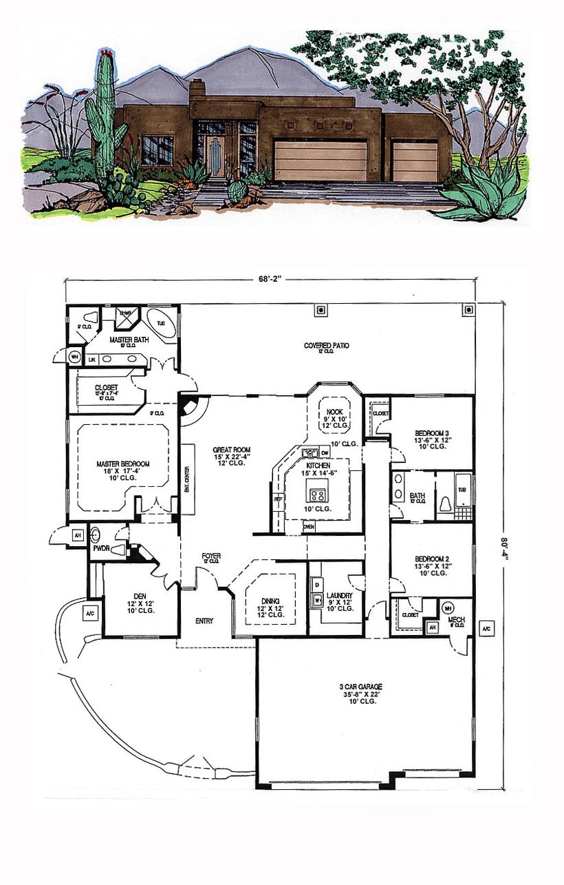 Santa Fe House Plan 54635 | Total Living Area: 2844 sq. ft., 3 ...