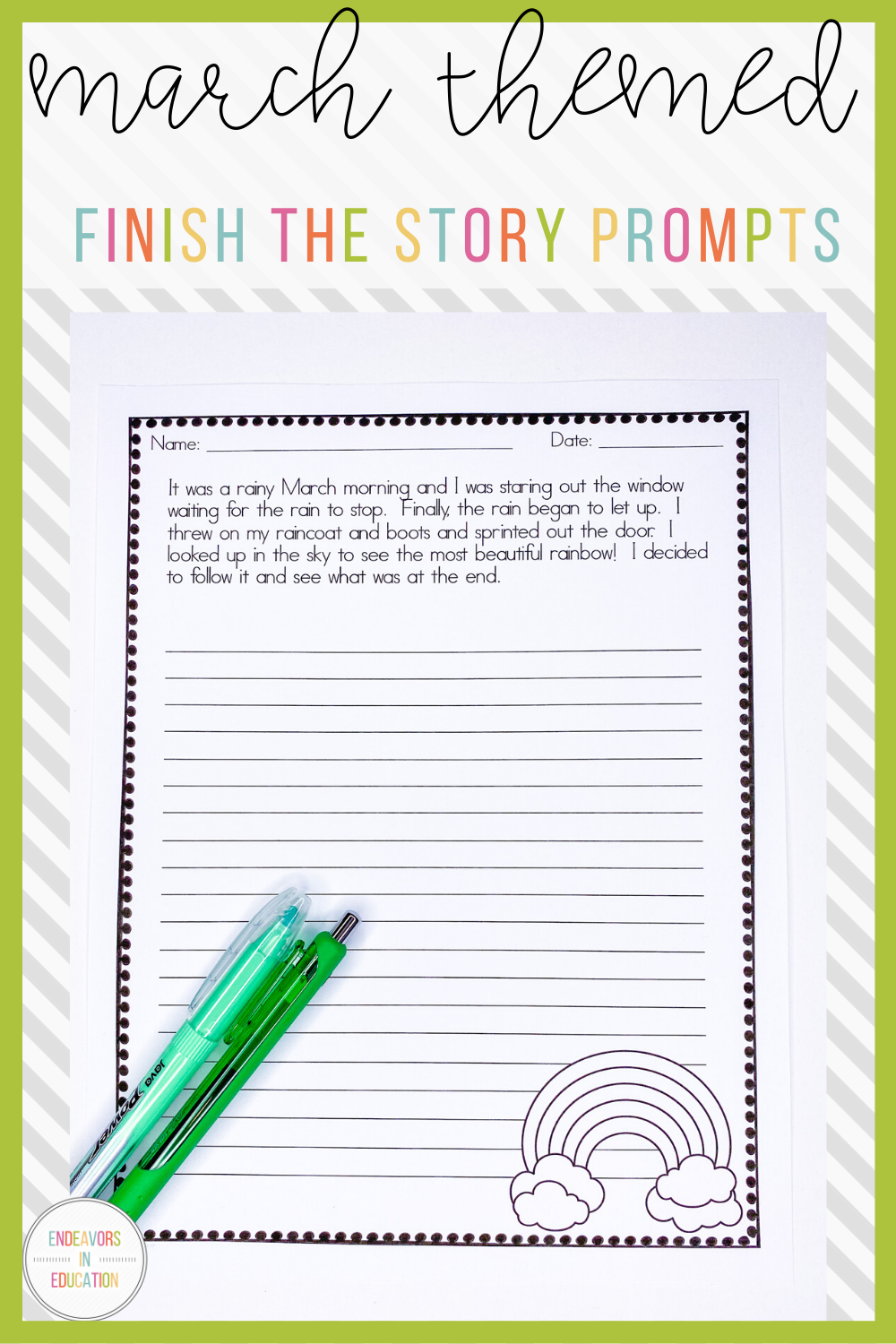 March Story Starters Primary Writing Free Writing Prompts Teacher Lesson Plans [ 1500 x 1000 Pixel ]