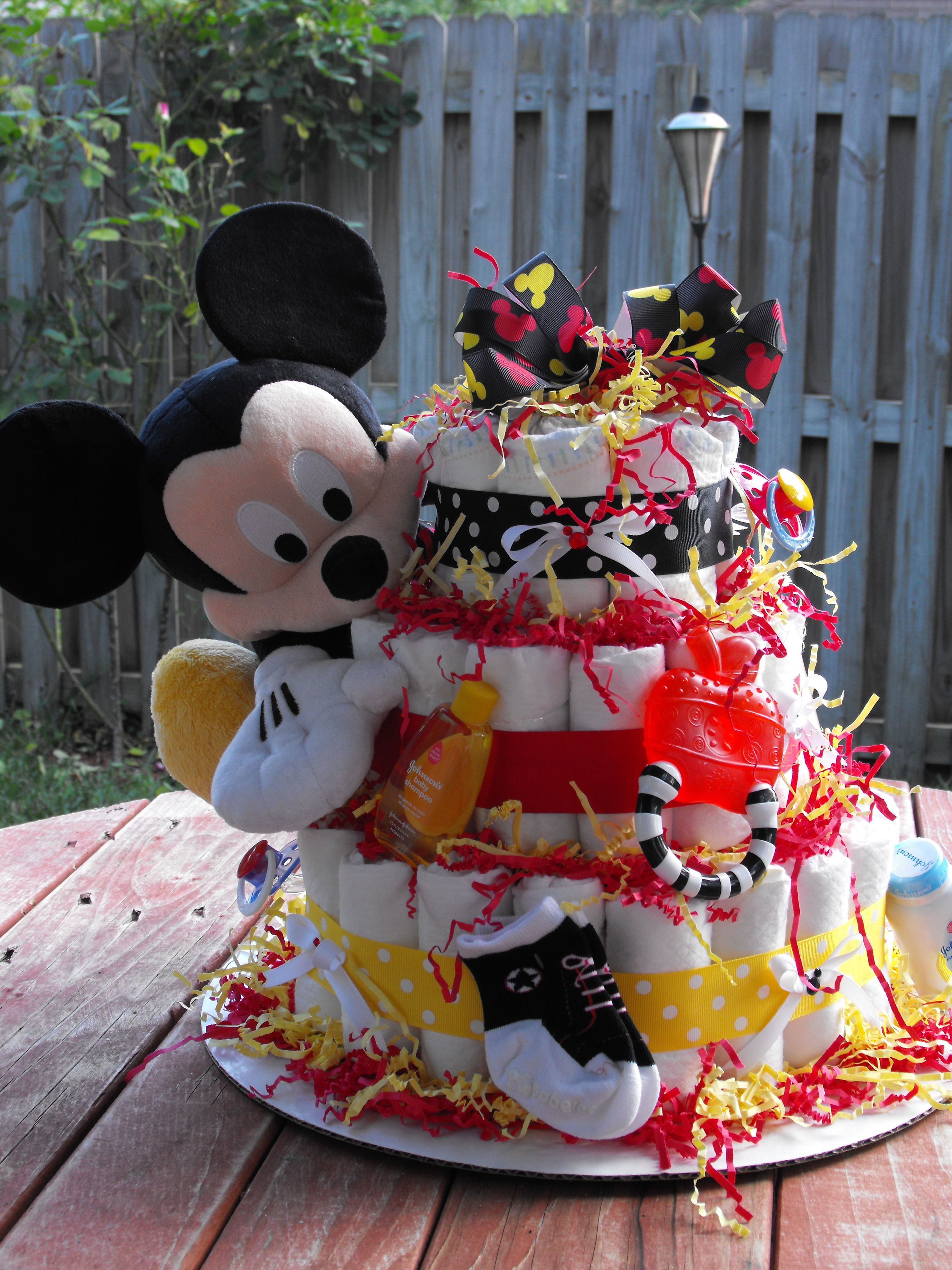 Mickey Mouse Diaper Cake made with 65 baby diapers and many