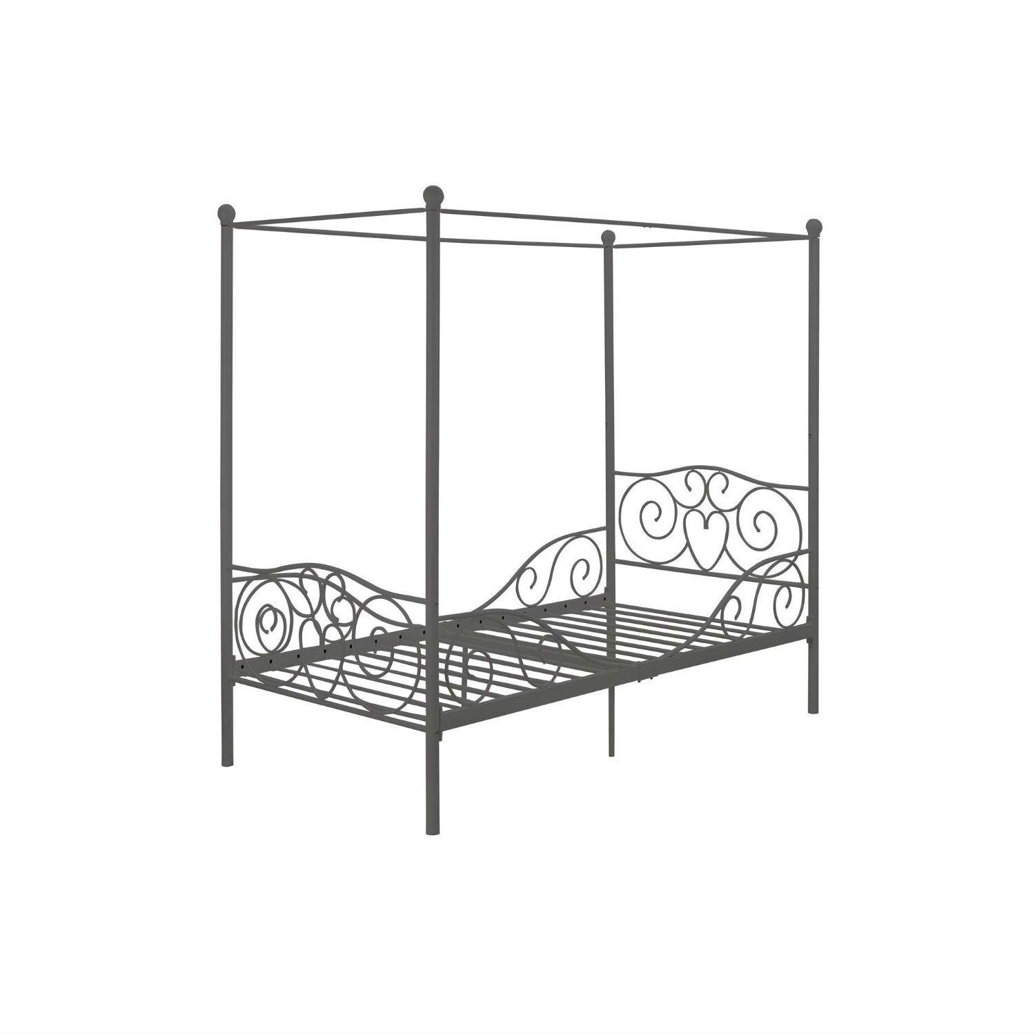 Twin size Metal Canopy Bed in Pewter Grey Finish  sc 1 st  Pinterest & Twin size Metal Canopy Bed in Pewter Grey Finish | Personal Space ...