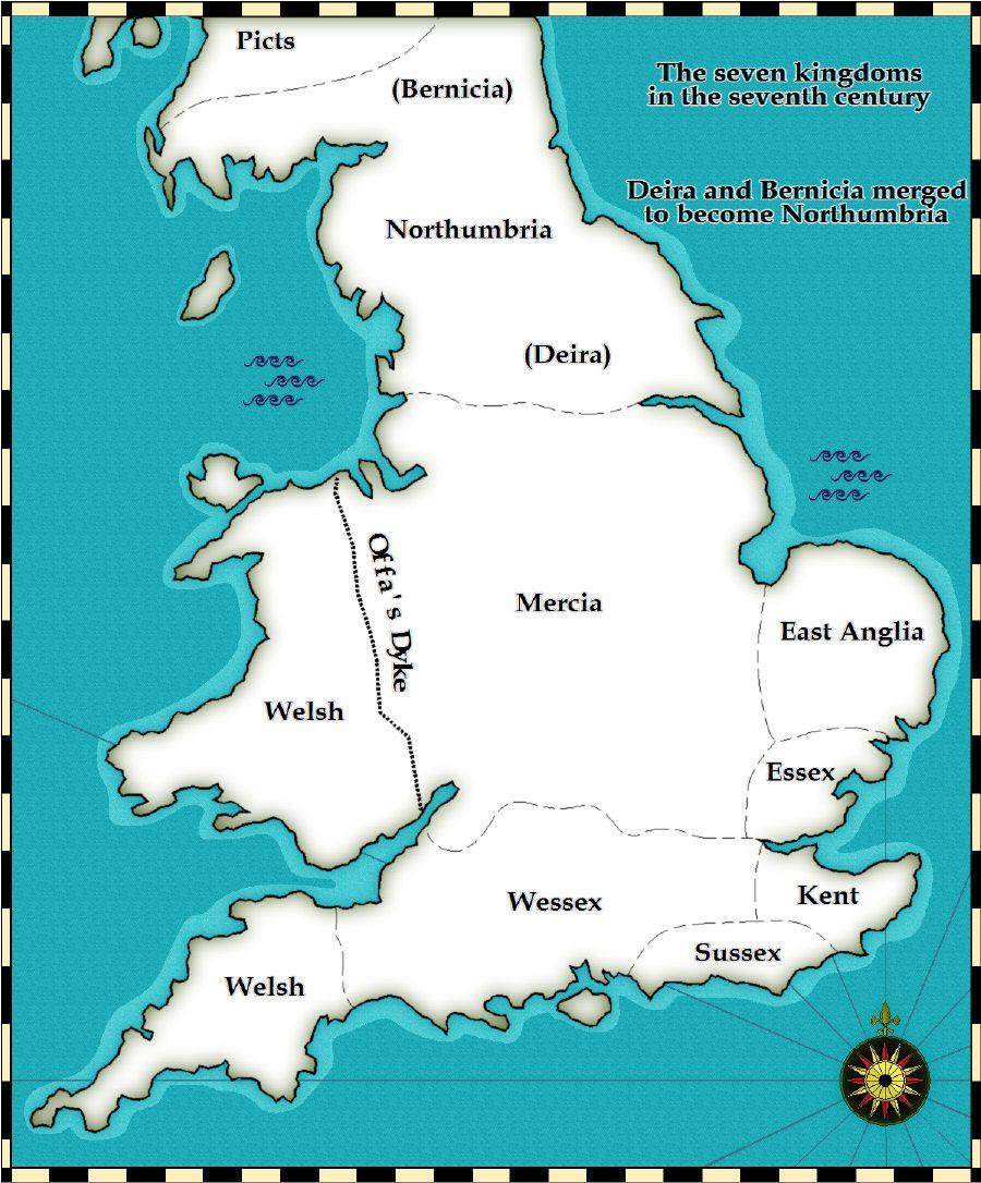 Map Of England Northumbria.The Seven Anglo Saxon Kingdoms Were Northumbria Mercia East Anglia