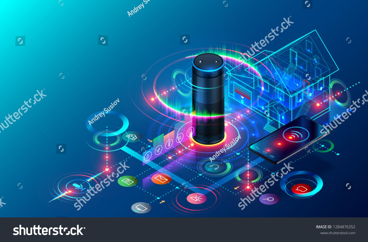 IOT isometric technology concept. Smart Speaker recognizes voice commands and controls System of Smart Home. The Phone Communicates with Devices of Internet of Things via Wireless Connection. #Ad , #ad, #recognizes#Speaker#commands#voice