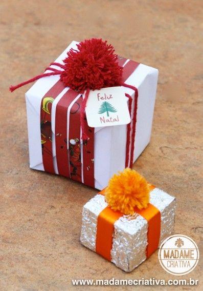 Como fazer mini pompons para decorar presentes de Natal - Passo a passo -  PAP - 6db1347414b