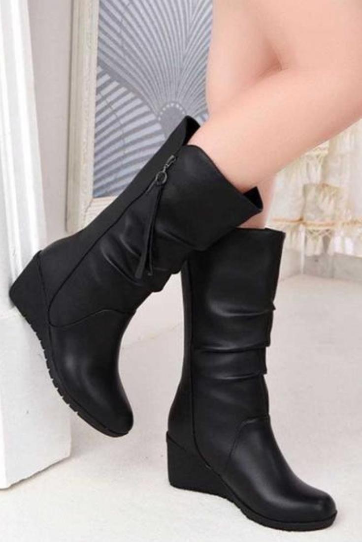 Black Mid Calf Zipper Boots Wedge Heels