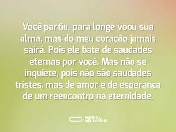 Saudades Eternas De Amor E Esperanca Mensagem De Saudade
