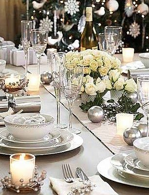 Silvery and white holiday tables & Color Outside the Lines: Love ... White Christmas Decor | Christmas ...