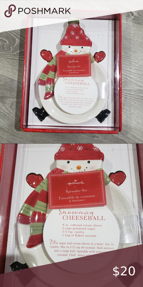 Hallmark Snowman Cheese Ball Spreader Set Spotted