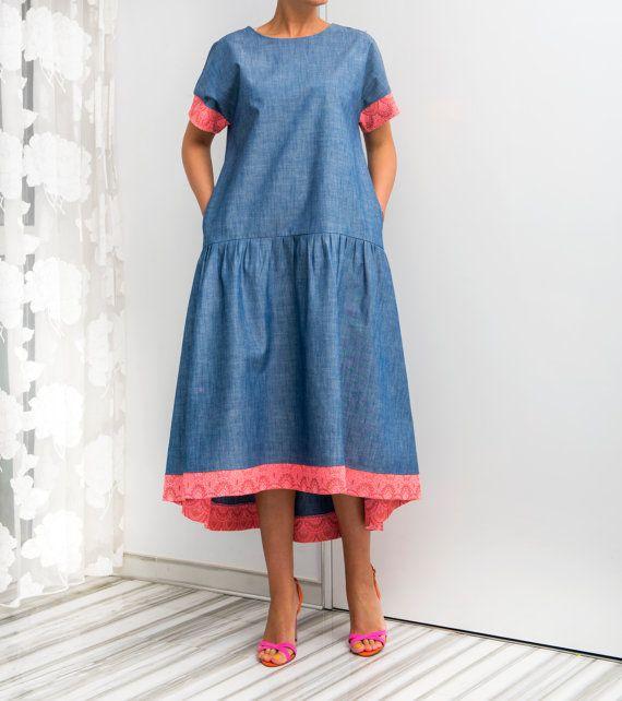 Bohemian Denim Maxi Dress with Pockets Blue by cherryblossomsdress