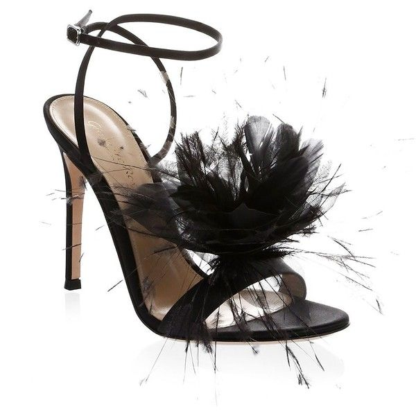 Gianvito Rossi Feather Flower Ankle-Wrap Sandals RVNzt