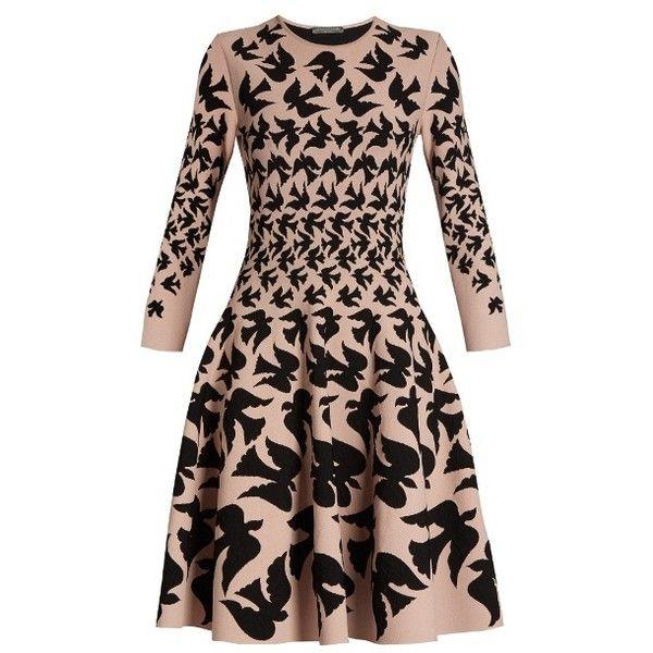 Alexander McQueen Doves-intarsia flared-skirt dress (17.165 NOK) ❤ liked on Polyvore featuring dresses, black pink, print dress, skater skirt, patterned bodycon dress, pink dress and pink fit-and-flare dresses