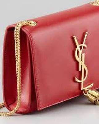 ea4139ac42 YSL Saint Laurent Cassandre Red Small Leather Tassel Cross-body Handbag