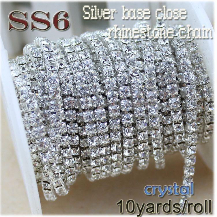 New deals 10yards roll clear crystal SS6-SS12(2mm-3mm) silver base  Rhinestone Chain apparel Sewing style diy beauty accessories dd825ec42cef