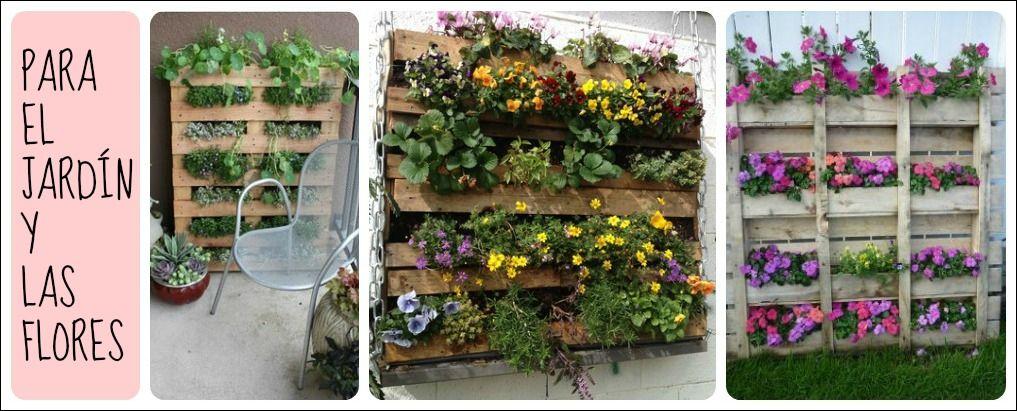Reciclar con palets jardineria jardineria pinterest for Jardineria en casa