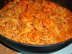Spaghetti mit Krabben - Tomaten - Sahnesoße #shrimpscampi