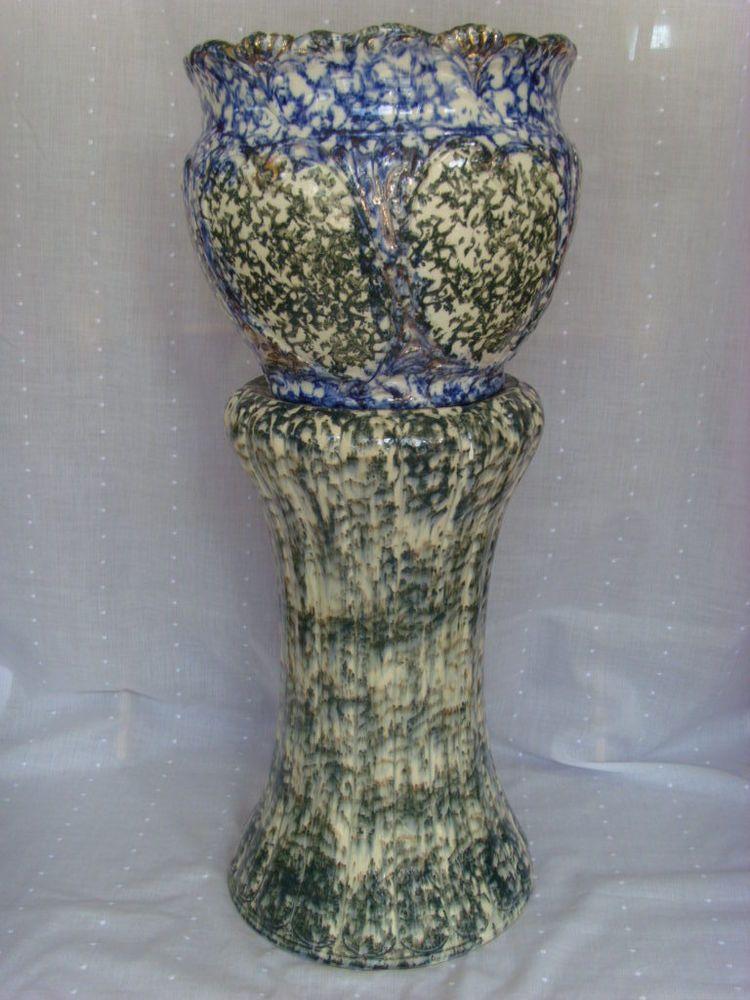 "Spongeware Art Pottery Jardiniere & Pedestal 27"" tall"