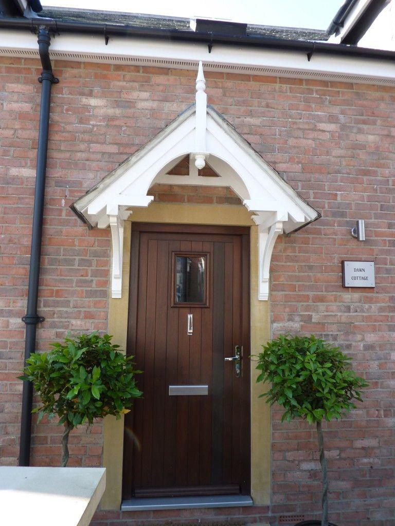 Hardwood front door and canopy Cottage style, Door canopy