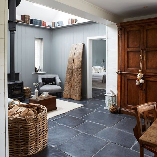 Superior Rustic Living Room With Wood Burner And Slate Floor | West Sussex Country  House | House Tour | PHOTO GALLERY | Country Homes And Interiors |  Housetohome.co. ...