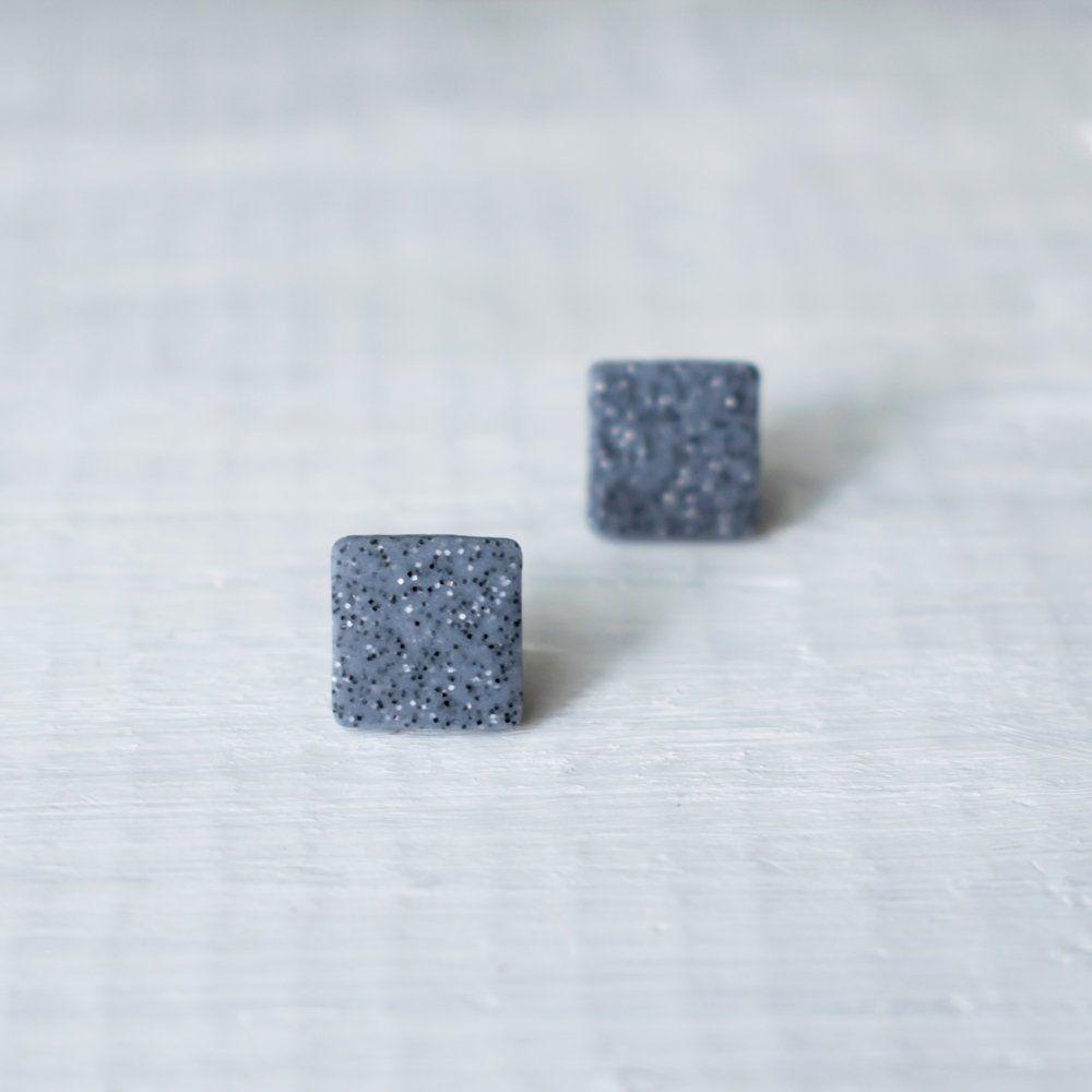 Square Earrings Stud Gray Men Simple Small Studs Granite Uni