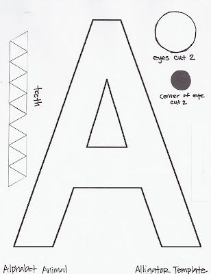 Alligator Template Alphabet Preschool Letter A Crafts
