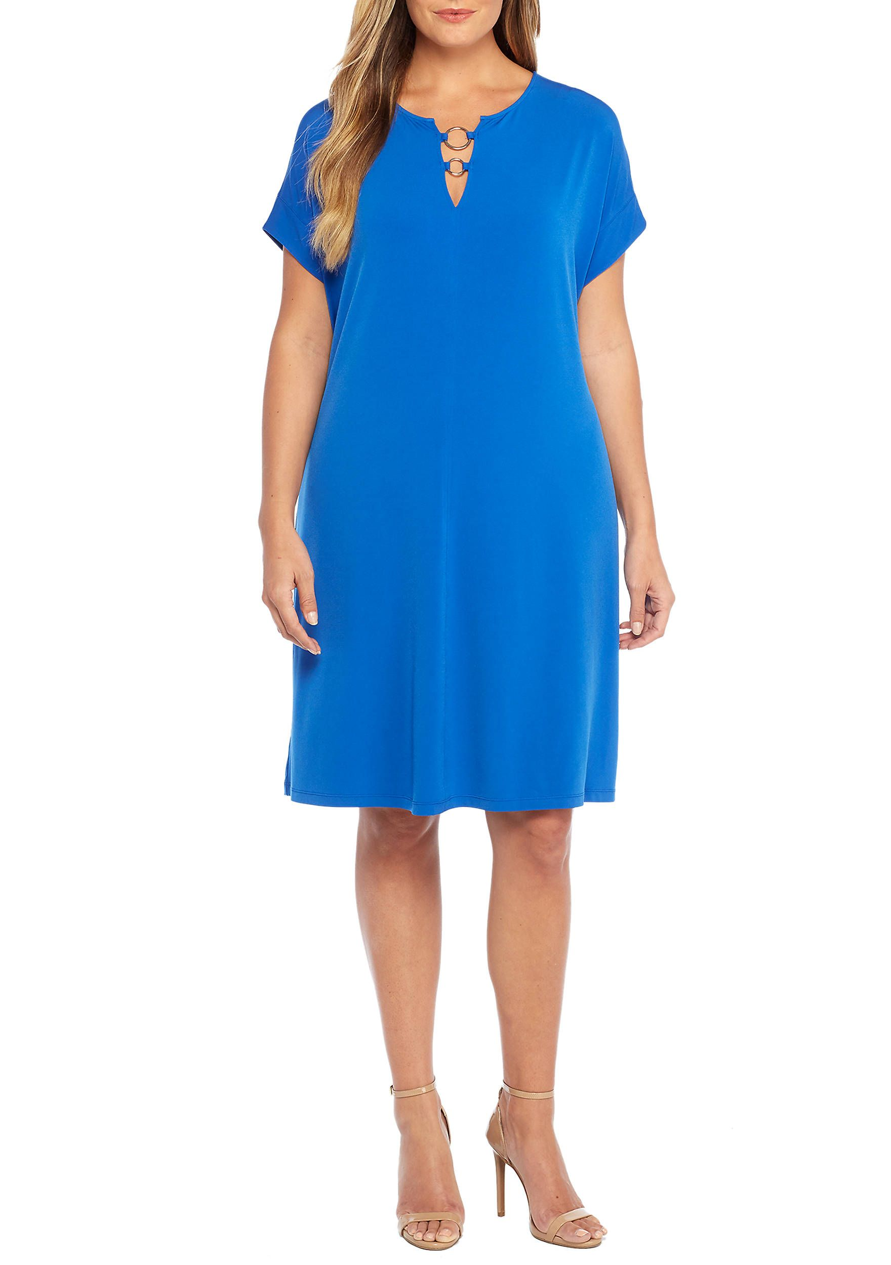 0b3e35a33b662 THE LIMITED Plus Size Short Sleeve Circle Hardware Dress | Fashions ...