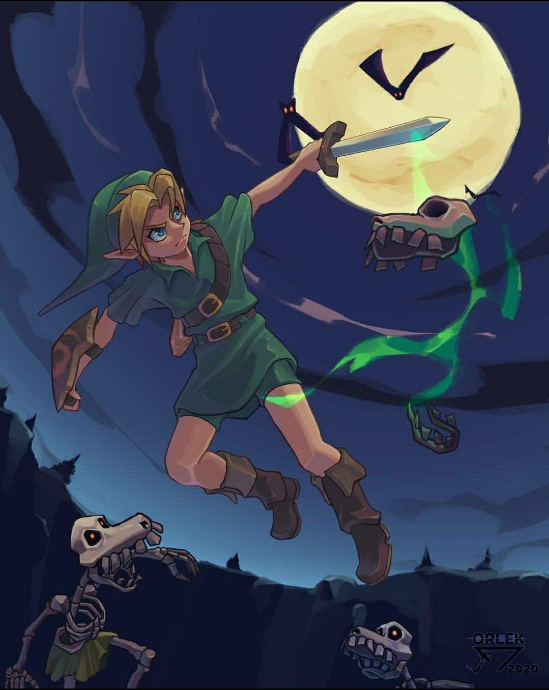 Legend Of Zelda Ocarina Of Time Art Link Warding Off Keese Stalchild Enemies Orlek Sketch In 2020 Legend Of Zelda Zelda Art Legend Of Zelda Breath