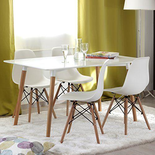 Nakura conjunto de comedor tower con mesa lacada blanca y 4 sillas eames mi futuro hogar - Mesa blanca comedor ...