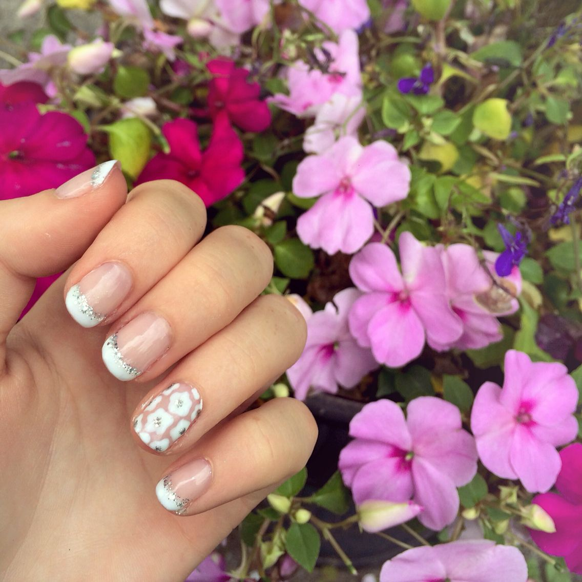 Sparkly french manicure with flowery accent nail | nails | Pinterest ...