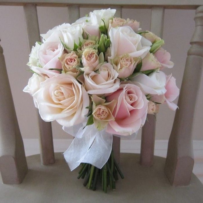 10pale Pink Cream Peach Roses Bouquet