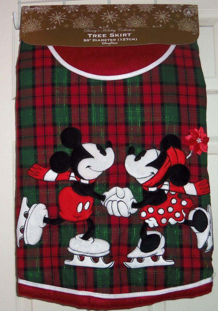 Disney Christmas Tree Skirt Minnie Mickey Mouse Plaid Red Green Theme Parks