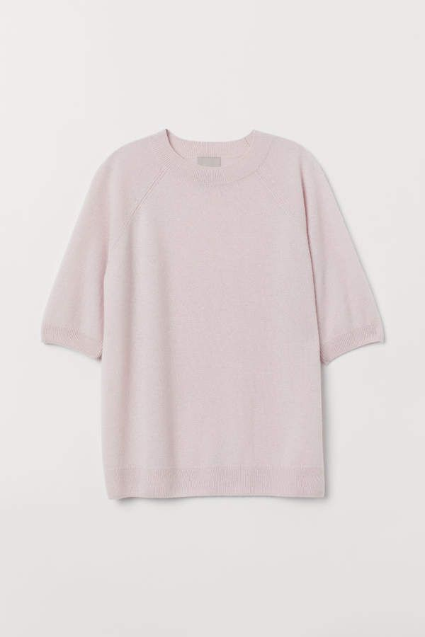 2bdc27a6239f H M Short-sleeved Cashmere Sweater - Pink in 2019