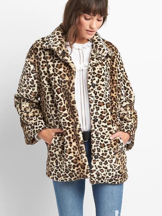 9b394cb0e Gap Womens Leopard Faux-Fur Coat Leopard Print Size XS   Products in ...