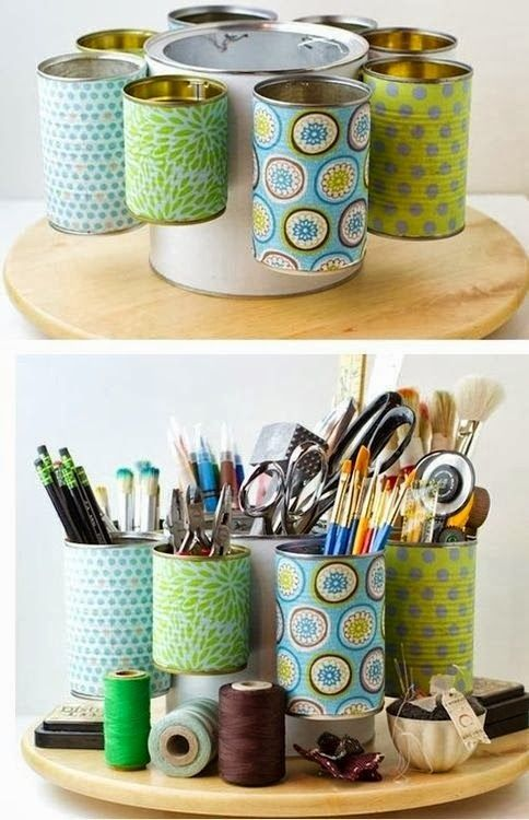 Recycling Tin Cans into pencil box Recicla+arte+utiles - küchenschrank mit rollo