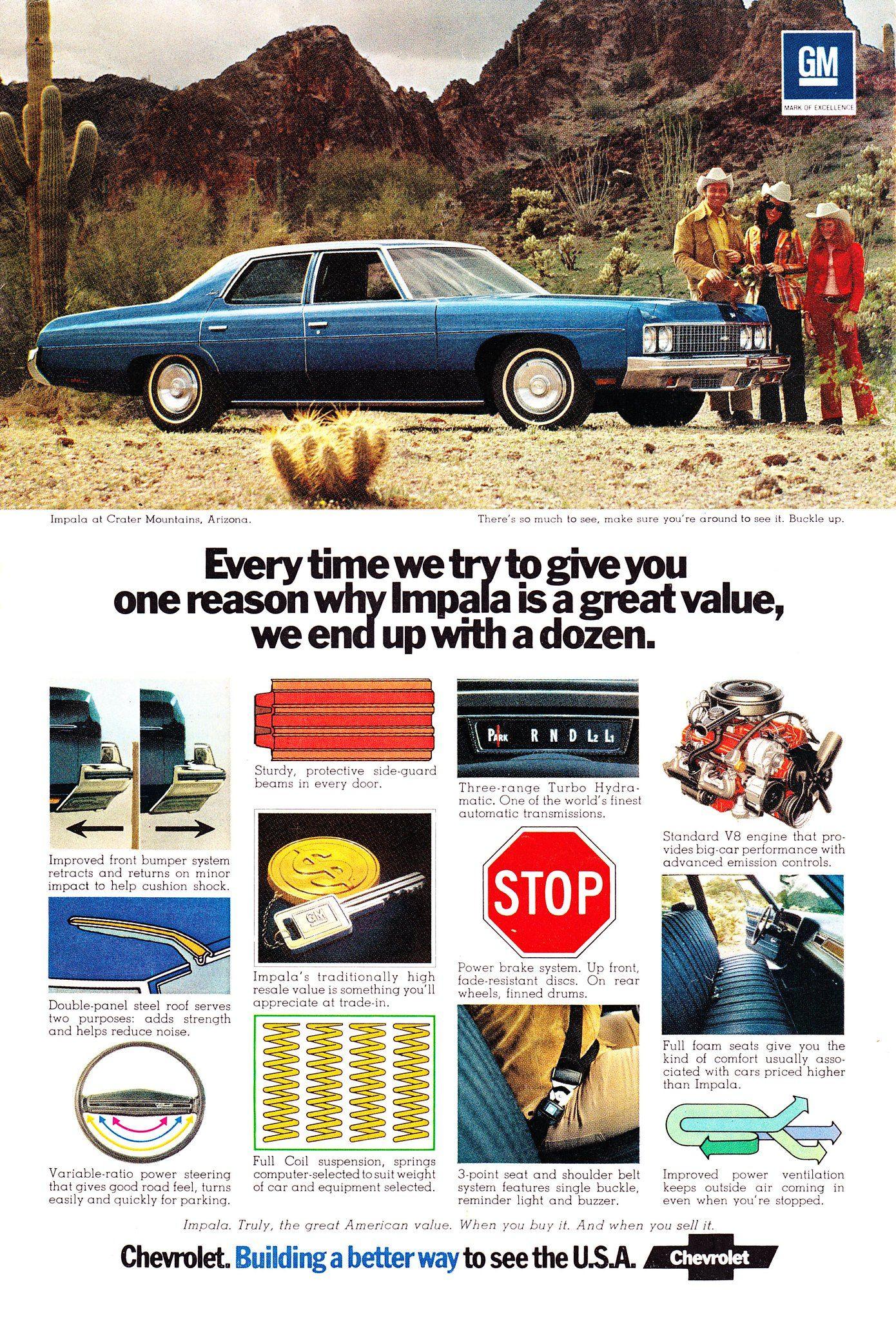 1973 Chevrolet Impala 4 Door Sedan Usa Original Magazine Advertisement Chevrolet Impala Impala Chevrolet