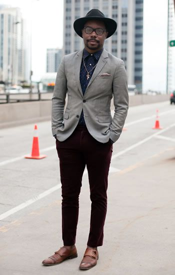 blue printed shirt, grey blazer, cropped maroon pants   hat ...