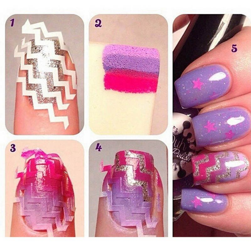 $1.19 (Buy here: http://appdeal.ru/7658 ) Nail Art French Guide Sticker Decals ZiG ZaG Nail Tips For Beauty Lady Manicure Nail Stencils Stickers for just $1.19