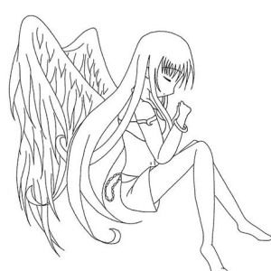 Long Haired Chibi Anime Character Coloring Page Coloring Pages Angel Coloring Pages Anime Chibi