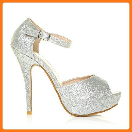 b149547e9366 LONDON Women's Glitter Stiletto Very High Heel Silver Ankle Strap Size 10