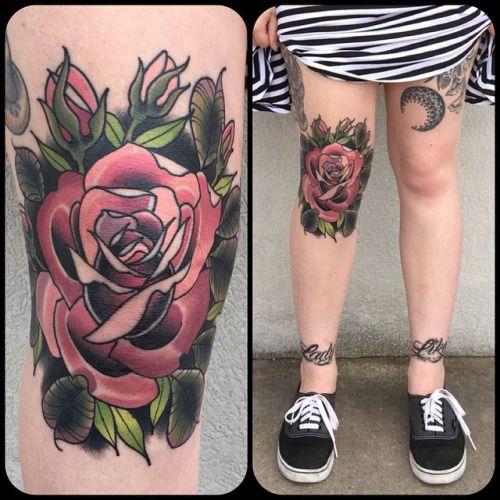 Electric Tattoos Tattoosbykatie Healed Rose On Allisonannh S Knee Tattoo Neck Tattoo Traditional Tattoo