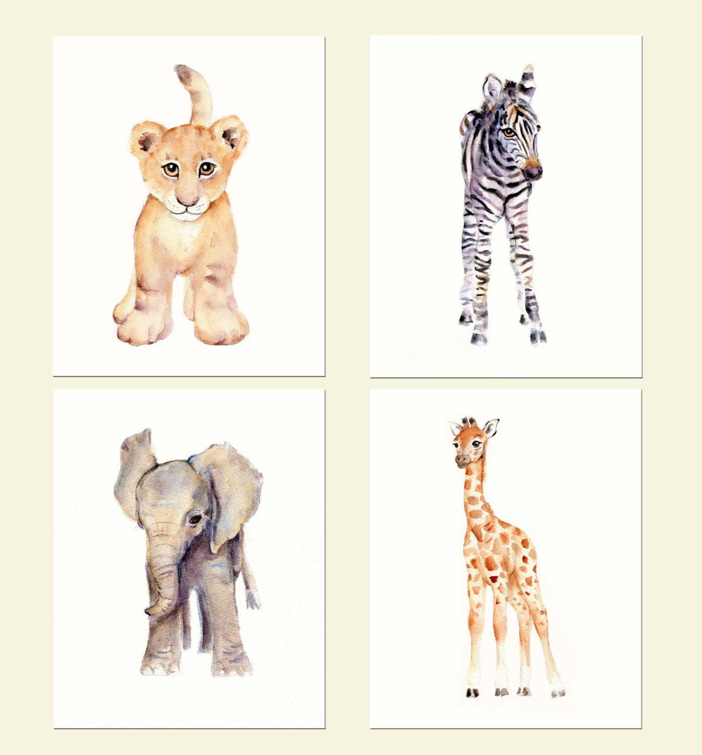 Elephant nursery wall art print mom baby dad by rizzleandrugee - Safari Nursery Print Set Four 8 X 10 Prints Watercolor Nursery Prints Lion Zebra Elephant And Giraffe Prints
